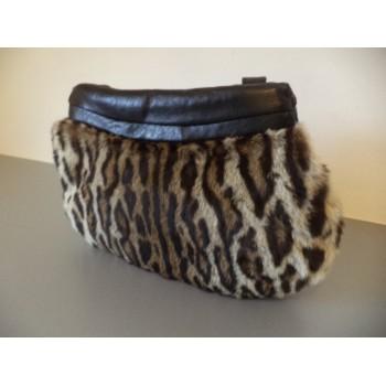 Ексклюзив! Женская сумка муфта натурального меха леопарда